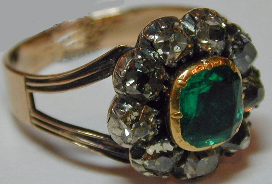 Women's Antique Emerald and Diamond Cluster Ring