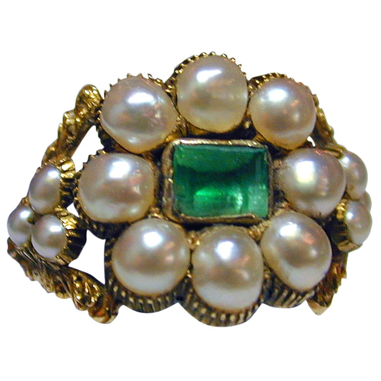 antique pearl and emerald cluster ring at 1stdibs