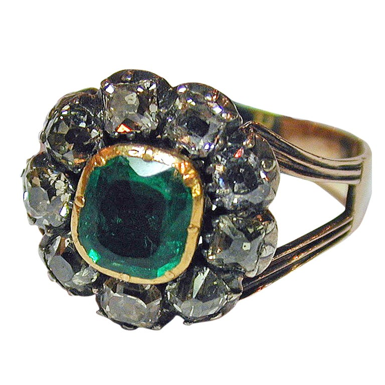 antique emerald and cluster ring for sale at 1stdibs