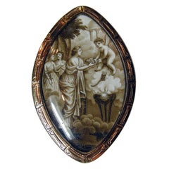 Antique Sepia Love Brooch of Cupid Bearing Flowers Upon Maiden, under Crystal