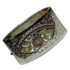 Antique Silver and Gold Bangle Bracelet