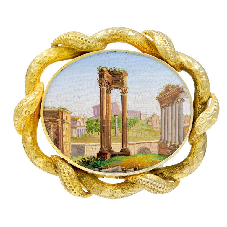 Remarkable Antique Micromosaic Pin of the Forum in Rome