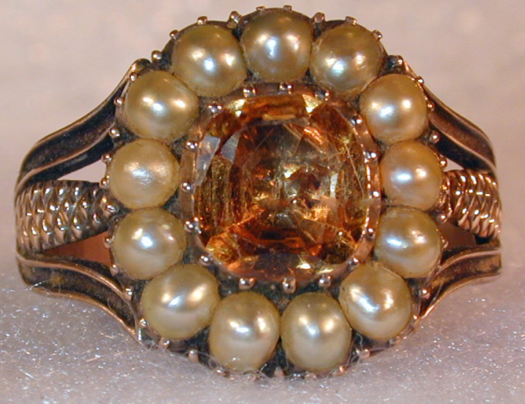 Antique Topaz and Natural Pearl Ring 2