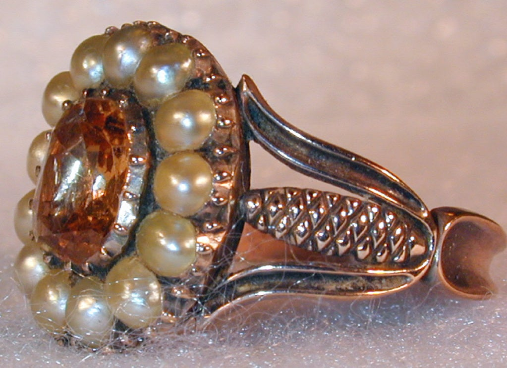 Antique Topaz and Natural Pearl Ring 4