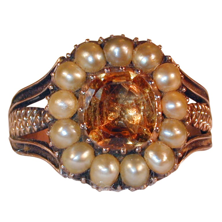 Antique Topaz and Natural Pearl Ring 1