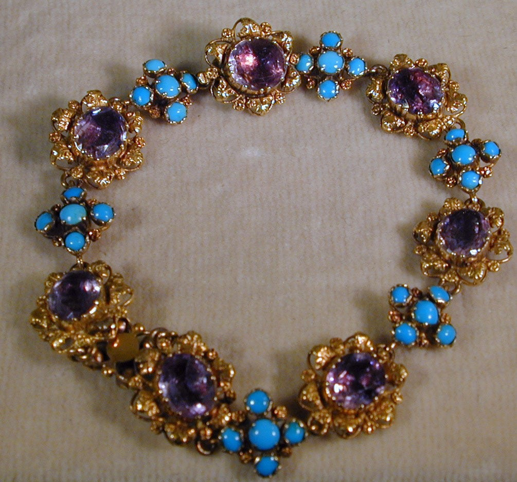 Georgian Antique Amethyst, Turquoise and Gold Bracelet For Sale