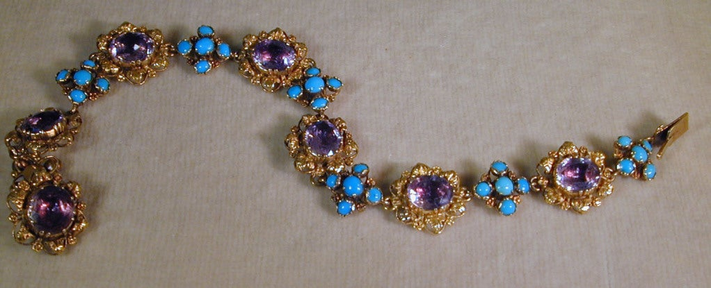 Antique Amethyst, Turquoise and Gold Bracelet 4