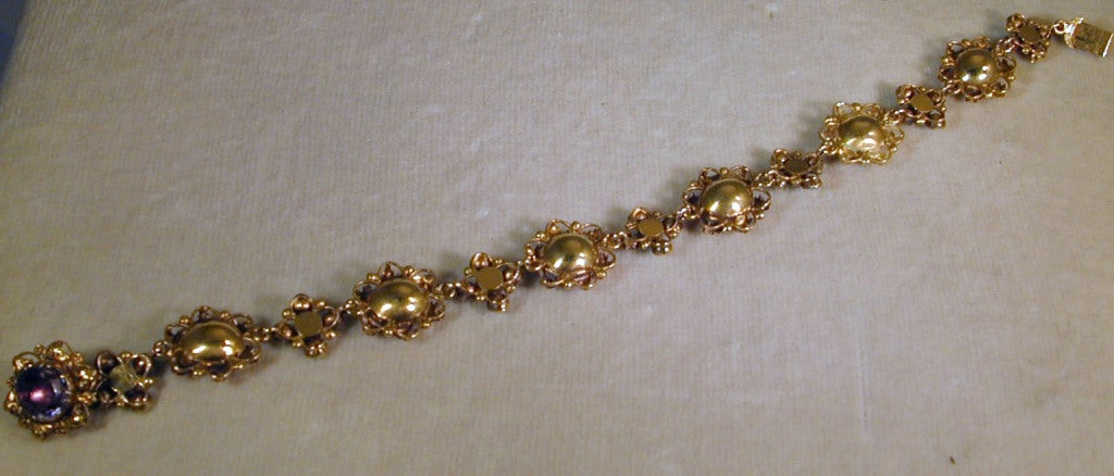 Women's Antique Amethyst, Turquoise and Gold Bracelet For Sale