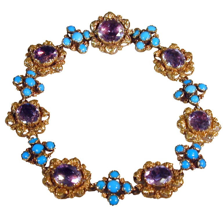 Antique Amethyst, Turquoise and Gold Bracelet For Sale