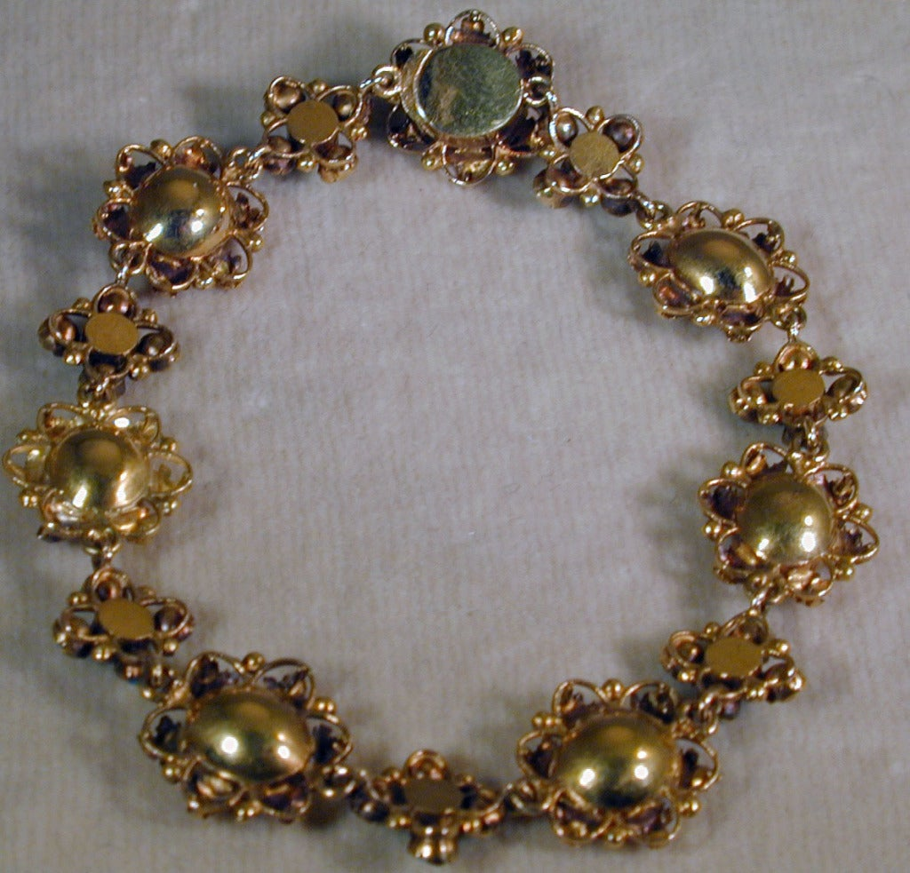 Antique Amethyst, Turquoise and Gold Bracelet For Sale 2