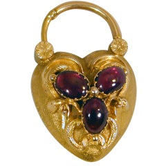 Antique Garnet and Gold Heart Lock