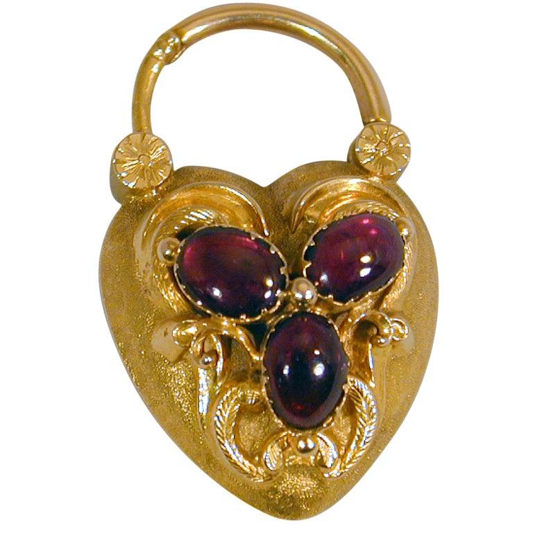 Antique Garnet and Gold Heart Lock