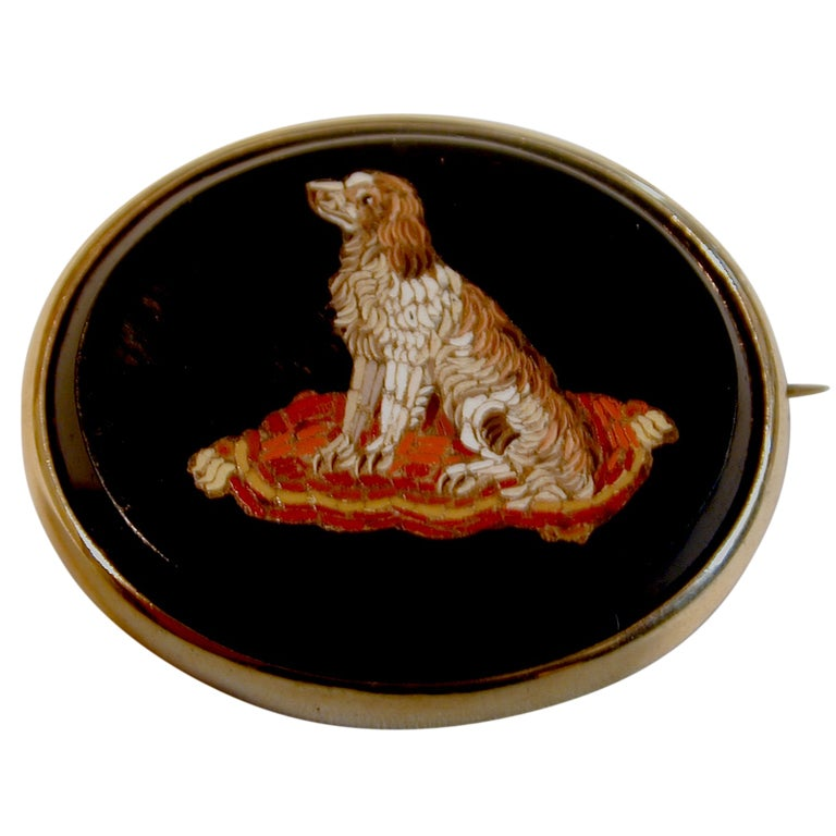 Micro-mosaic King Charles Spaniel Brooch For Sale
