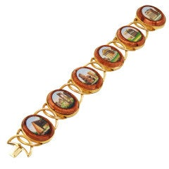 Memorable Antique Micromosaic Bracelet with Scenes of Rome