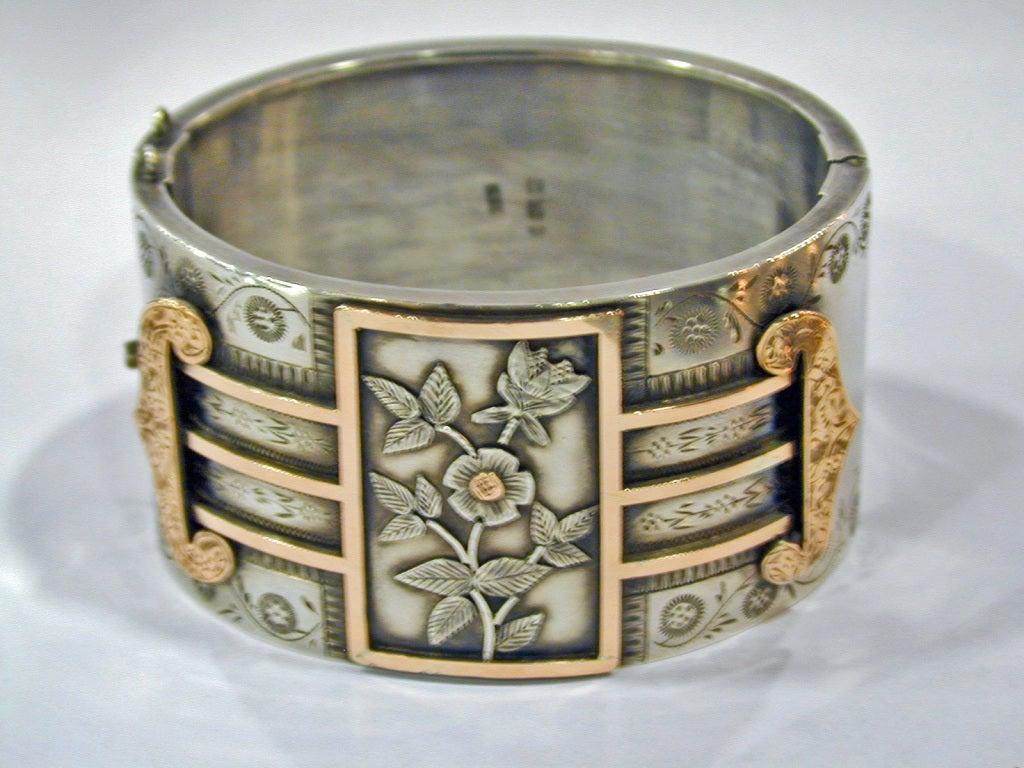 Antique Sterling and Gold Bangle Bracelet 2