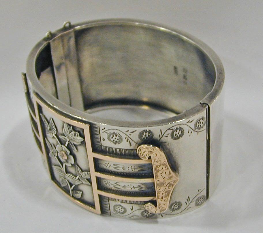 Antique Sterling and Gold Bangle Bracelet 3