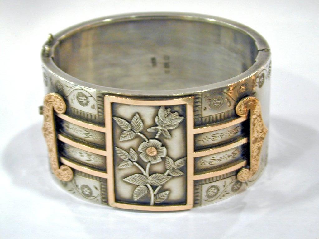Antique Sterling and Gold Bangle Bracelet 5