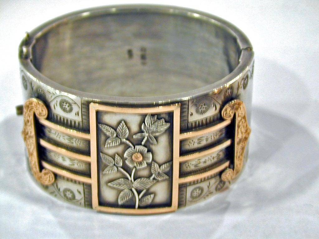 Antique Sterling and Gold Bangle Bracelet 6