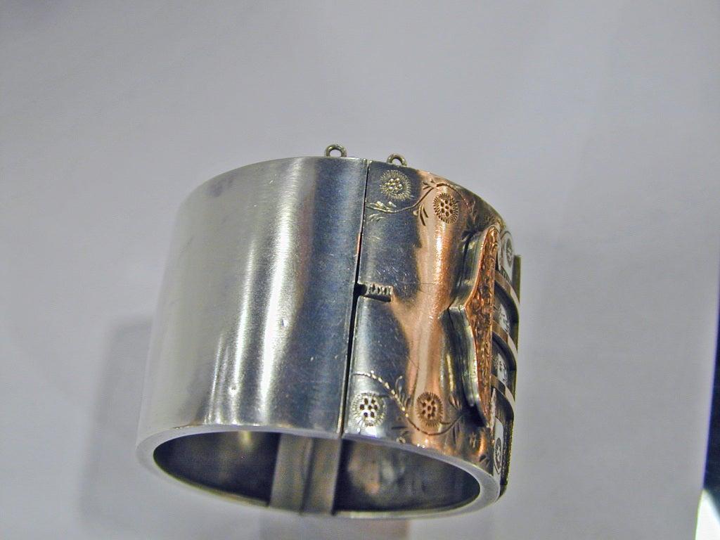 Antique Sterling and Gold Bangle Bracelet 8