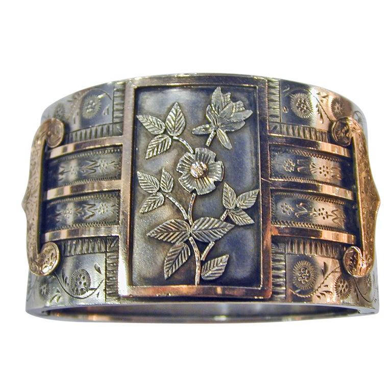 Antique Sterling and Gold Bangle Bracelet 1