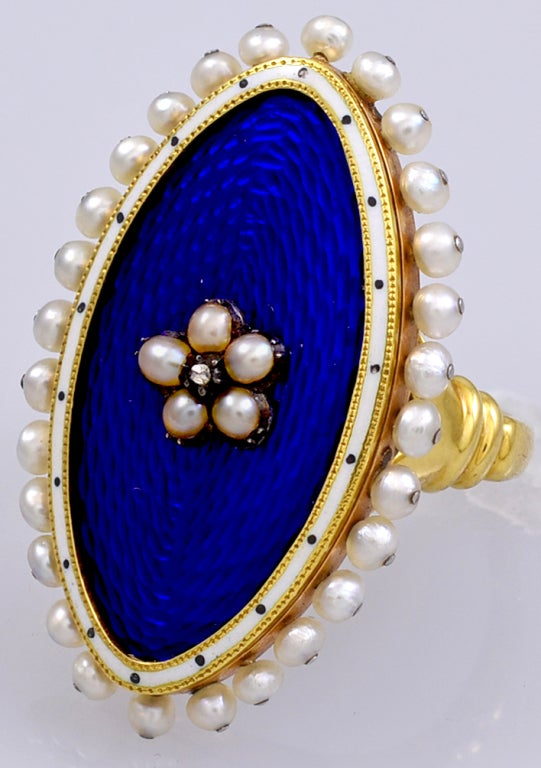 Antique Royal Blue Enamel And Pearl Ring For Sale At 1stdibs