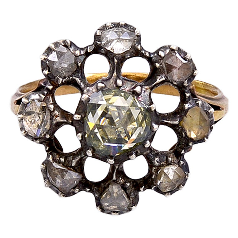 Georgian Dutch Crown Rose Diamond Cluster Ring, 18K For Sale