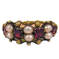 Antique Almandine Garnet and Pearl Ring