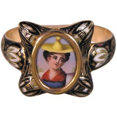 Antique Swiss Enamel Portrait Ring