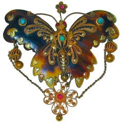 Antique Tortoiseshell and Gold Butterfly Brooch