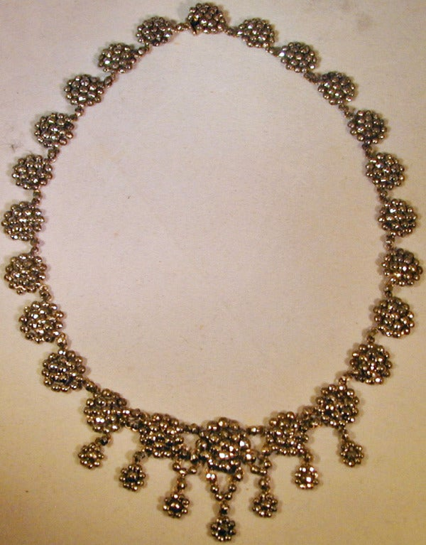 Victorian Antique Cut Steel Necklace For Sale