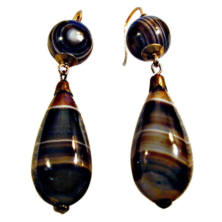 antique banded agate teardrop earrings at 1stdibs