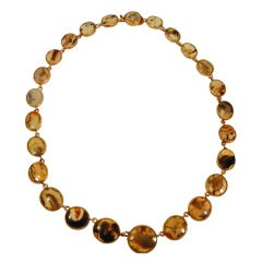 Antique Moss Agate Necklace set in Gilt Metal