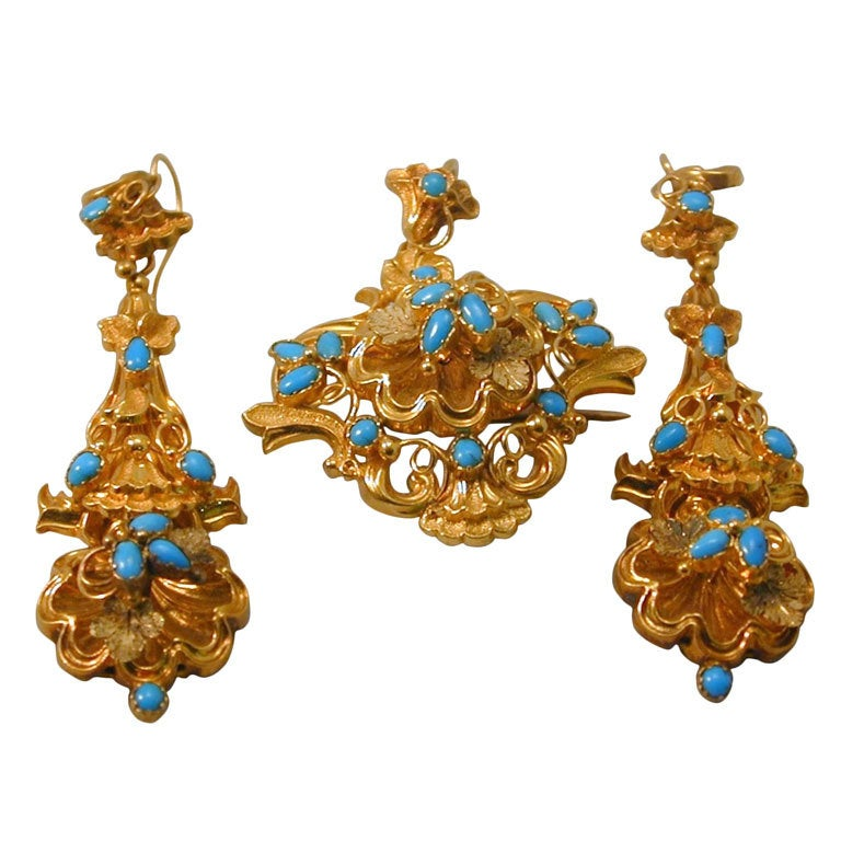 Exquisite Antique Turquoise Suite of Pendant or Brooch and Earrings
