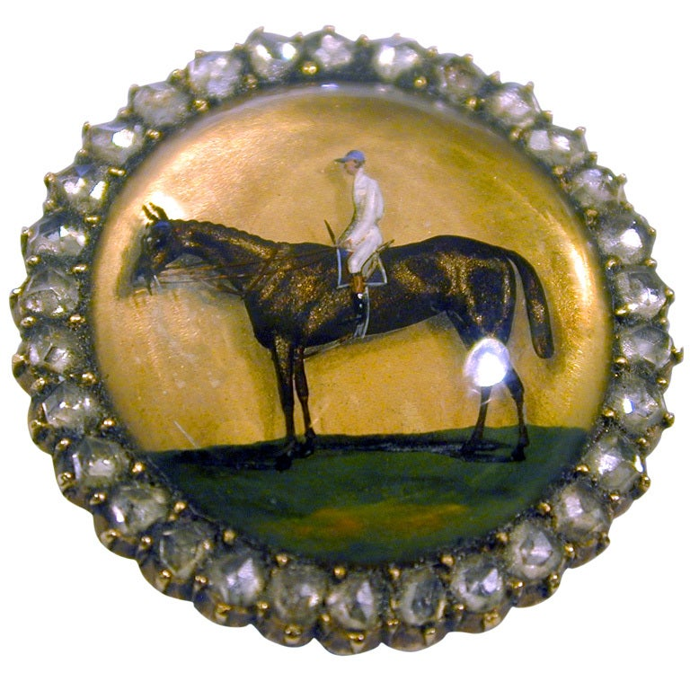 Antique Essex Crystal Horse and Rider Brooch