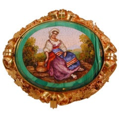 Antique Micromosaic Broach of a Peasant Girl