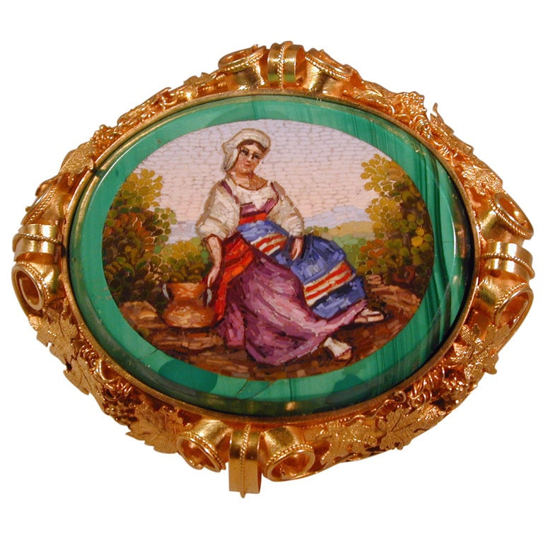 Antique Micromosaic Broach of a Peasant Girl For Sale