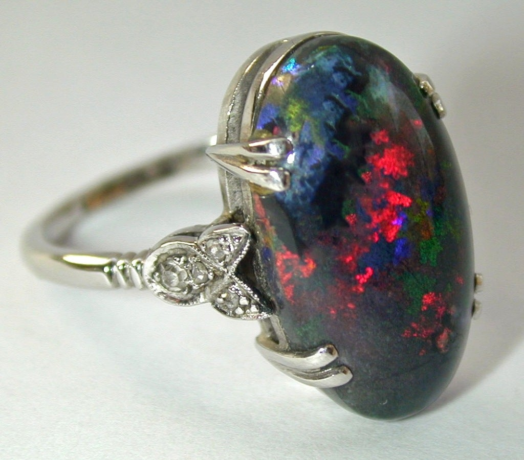 magnificent black opal ring at 1stdibs