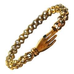 Antique Gold Hand Clasp Bracelet