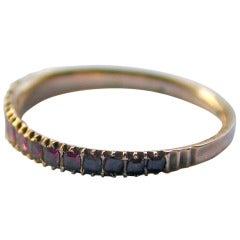 Antique Almandine Garnet Half Hoop Ring