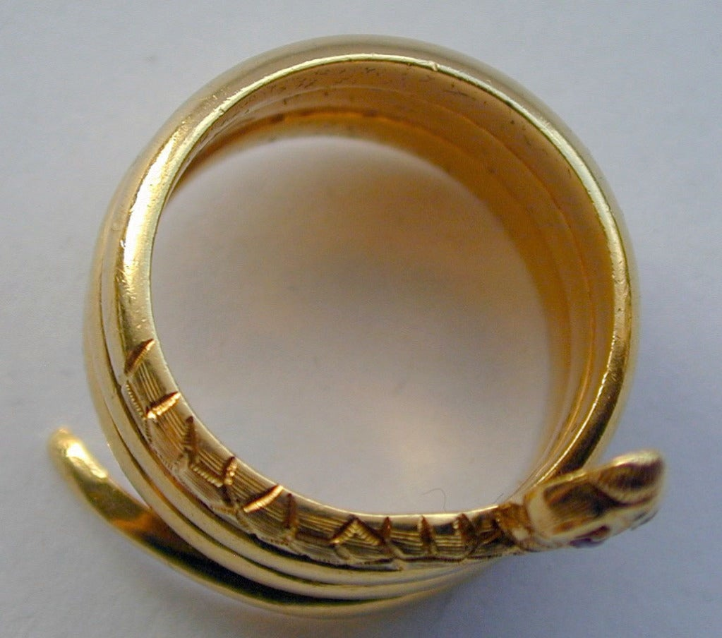 Women's or Men's Antique Gold Snake Ring
