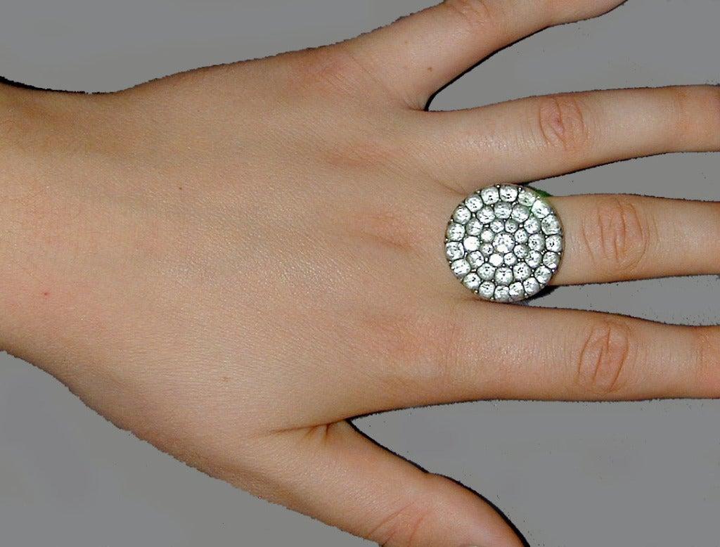 Antique Black Dot Paste Cluster Ring For Sale 1