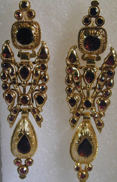 Victorian Catalan Style 18K and Garnet Earrings For Sale