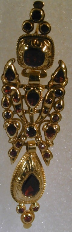 Catalan Style 18K and Garnet Earrings For Sale 3