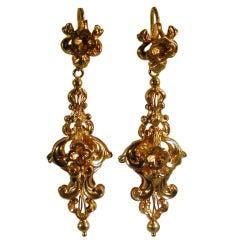 Antique Gold Ornate Drop Earrings