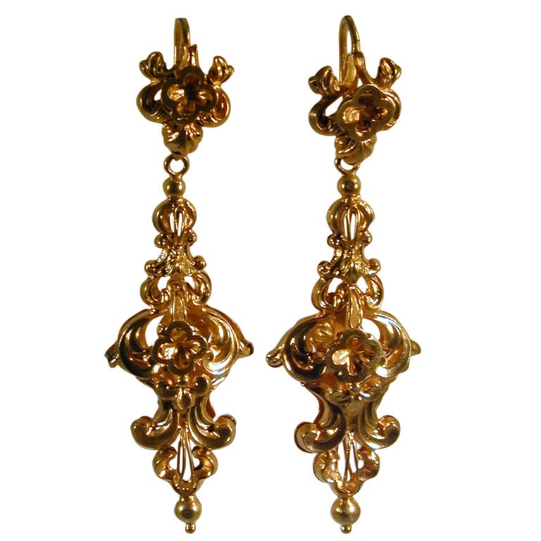Antique Gold Ornate Drop Earrings At 1stdibs