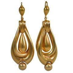 Antique Double Hoop and Drop Earrings