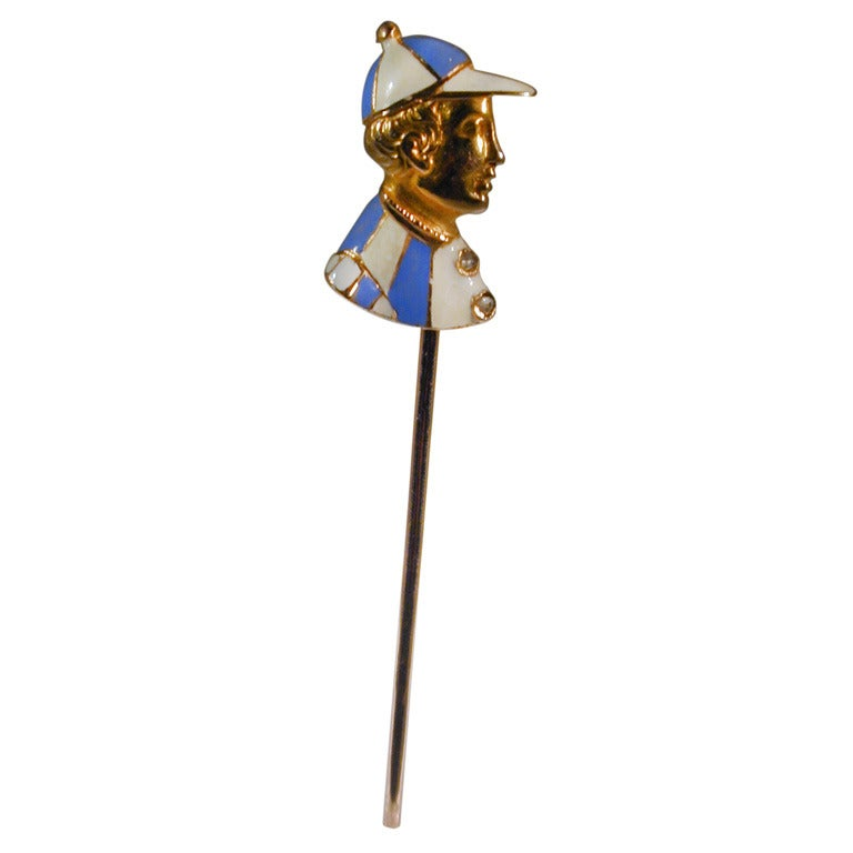 Antique Enameled Jockey Stickpin