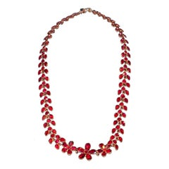 Dazzling Antique Georgian Almondine Garnet Pansy Necklace, circa 1800