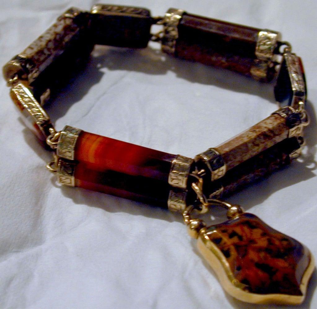 Victorian Antique Scottish Agate Bracelet For Sale