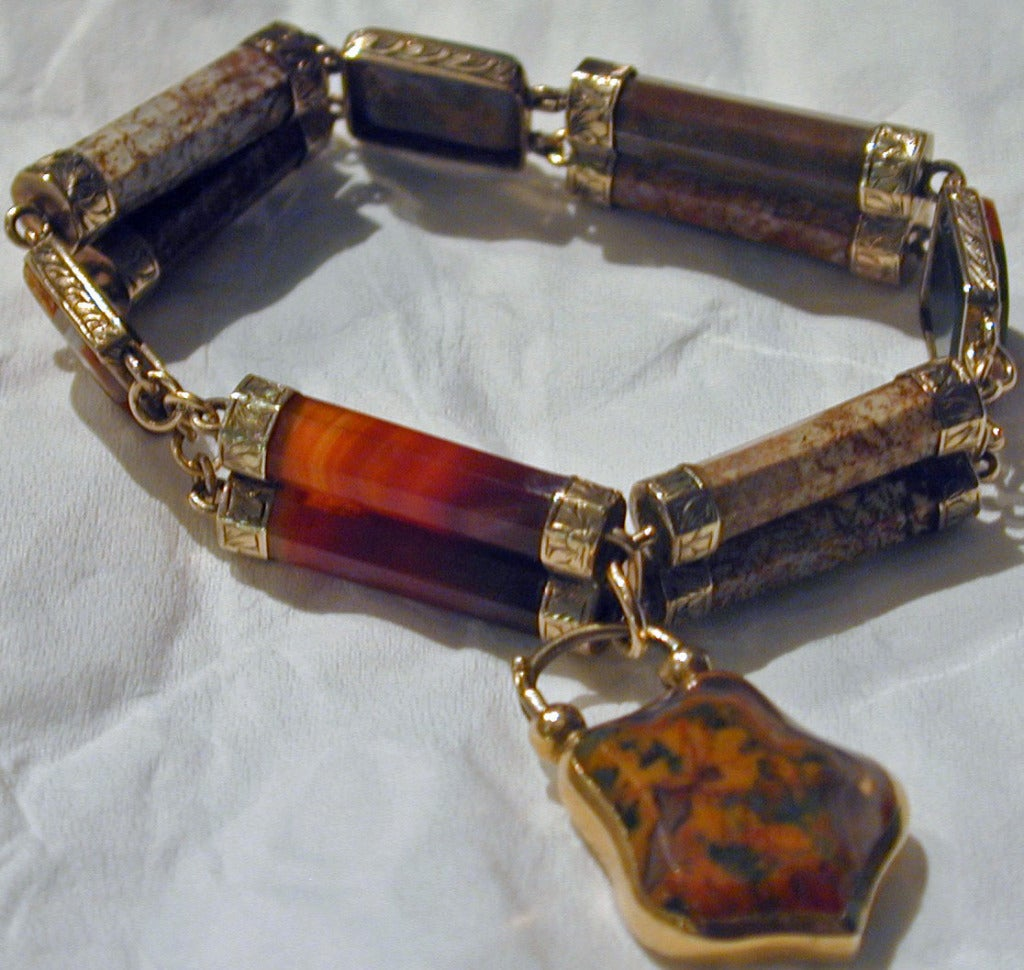 Antique Scottish Agate Bracelet In Excellent Condition For Sale In Baltimore, MD